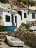 Village Houses Cut into the Cliffs, Cala D'Alcaufar, Menorca Island, Balearic Islands, Spain Photographic Print by Inaki Relanzon