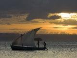 Fishing Boat at Dawn, Ramena Beach, Diego Suarez in North Madagascar Photographic Print by Inaki Relanzon