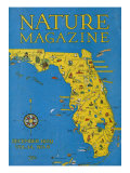 Nature Magazine - Detailed Map of Florida State with Scenic Spots to Visit, c.1929 Prints by  Lantern Press