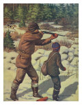 National Sportsman - Father and Son with their Dog in a Hunting Scene, c.1921 Poster von  Lantern Press