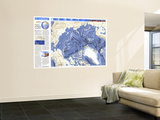 1990 World Ocean Floors, Arctic Ocean Map Wall Mural by  National Geographic Maps