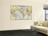 Carte du monde de 1943 Poster géant par  National Geographic Maps