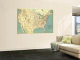 1933 United States of America Map Seinämaalaus tekijänä  National Geographic Maps