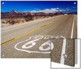 Route 66 Sign on Highway Near Amboy, Mojave Desert, California Plakat av Witold Skrypczak