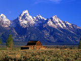 Morning Light on the Tetons and Old Barn, Grand Teton National Park, Wyoming, USA Prints by Howie Garber
