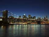 Manhattan Skyline and Brooklyn Bridge at Dusk, New York City, New York, USA Art by Amanda Hall