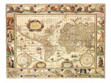 Early World Map 1630 Lámina giclée por Johannes Blaeu