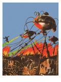 Science fiction-beeld uit War of the Worlds, 1927 Gicléedruk van Frank R. Paul
