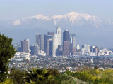 View of Downtown Los Angeles Looking Towards San Bernardino Mountains, California, USA Reproduction photographique par Ethel Davies