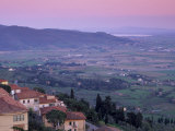 View from the Medieval Town of Cortona Towards Lago Trasimeno, at Sunset, Cortona, Tuscany, Italy Photographic Print by Patrick Dieudonne