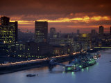 Hms Belfast Moored on the Thames, Illuminated at Dusk, London, England, United Kingdom, Europe Photographic Print by Dominic Harcourt-webster