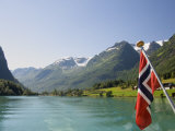 Sailing on the Green Lake and Norwegian Flag, Olden, Fjordland, Norway, Scandinavia, Europe Photographic Print by James Emmerson