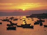 Fishing Boats in Harbour, Finisterre, Galicia, Spain, Europe Lámina fotográfica por Ken Gillham