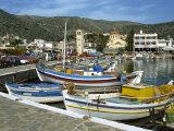 Fishing Boats Moored in the Harbour at Elounda, Near Agios Nikolas, Crete, Greece, Europe Fotografisk trykk av Harding Robert