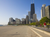 Joggers and Cyclists on Lake Michigan Shore, Oak Street Beach, Chicago, Illinois, USA Photographic Print by Amanda Hall