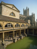 Roman Baths with the Abbey Behind, Bath, UNESCO World Heritage Site, Avon, England, UK Photographic Print by Harding Robert