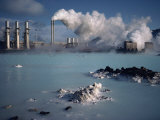 Geothermal Power Plant and Blue Lagoon at Svartsengi, Iceland, Polar Regions Photographic Print by Hart Kim