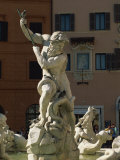Detail of the 19th Century Fontana Del Nettuno, Piazza Navona, Rome, Lazio, Italy, Europe Photographic Print by Tomlinson Ruth
