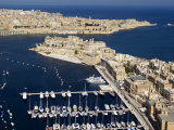 Aerial View of St. Angelo Fort in Vittoriosa in Front of Valletta, Malta, Mediterranean Photographic Print by Tondini Nico