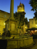 Place De L'Hotel De Ville after Dark, Aix-En-Provence, Bouches-Du-Rhone, Provence, France, Europe Photographic Print by Tomlinson Ruth