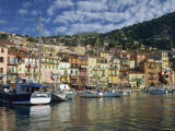 Boats in the Harbour and Painted Houses, Villefranche, on the Cote D'Azur, Provence, France Reproduction photographique par Rainford Roy