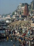 Ghats on the River Ganges, Varanasi, Uttar Pradesh State, India Impressão fotográfica por Woolfitt Adam