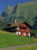 Typical Wooden Chalet with Colourful Shutters, Grindelwald, Bern, Switzerland, Europe Photographic Print by Tomlinson Ruth