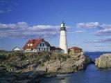 Portland Head Lighthouse on Rocky Coast at Cape Elizabeth, Maine, New England, USA Reproduction photographique par Rainford Roy