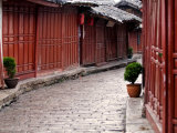 Early Morning Cobbled Street, Lijiang Old Town, UNESCO World Heritage Site, Yunnan, China Photographic Print by Porteous Rod
