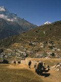 Yak Used for Transporting Goods Leaving the Village of Namche Bazaar in the Khumbu Region, Nepal Photographic Print by Wilson Ken