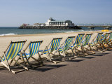 Bournemouth East Beach, Deck Chairs and Pier, Dorset, England, United Kingdom, Europe Photographic Print by Rainford Roy