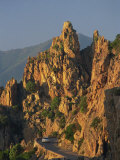 Calanche, White Granite Rocks, with Car on Road Below, Near Piana, Corsica, France, Europe Photographic Print by Tomlinson Ruth