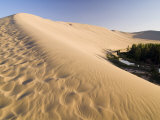 Sand Dunes and Oasis, Desert, Dunhuang, Gansu, China Photographic Print by Porteous Rod