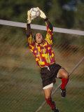Soccer Goalie in Action Fotografie-Druck