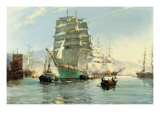 The Thermopylae Leaving Foochow Premium Giclée-tryk af Montague Dawson