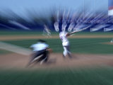 Zoomed View of Batter, Catcher and Umpire at Home Plate Photographic Print
