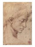 Testa Femminile di Profilo Premium Giclée-tryk af Michelangelo Buonarroti,