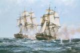 The Action Between the Java and Constitution Lámina giclée prémium por Montague Dawson