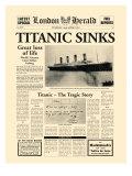 Naufrage du Titanic : article du London Herald, 1912 Reproduction giclée Premium par  The Vintage Collection