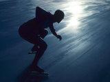 Male Speed Skater in Action at the Start Lámina fotográfica