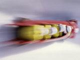 Blurred Action of 4 Man Bobsled Team, Lillehammer, Norway Lámina fotográfica