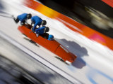 Start of a 4-Man Bobsled Team in Action, Torino, Italy Fotografisk tryk af Chris Trotman