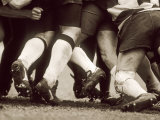 Detail of the Feet of a Group of Ruby Players in a Scrum, Paris, France Reproduction photographique
