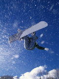 Male Snowboarder Flying Throught the Air Photographic Print