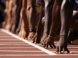 Detail of Hands at the Start of 100M Race Photographic Print by Steven Sutton