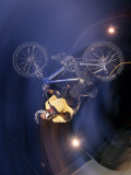 Bmx Cyclist Flys over the Vert Lámina fotográfica