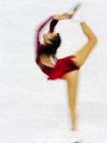 Blurred Action of Woman Figure Skater, Torino, Italy Fotografie-Druck von Chris Trotman
