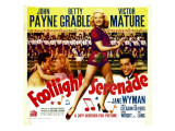 Footlight Serenade, John Payne, Betty Grable, Victor Mature on Window Card, 1942 Foto