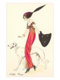 La mode française, barzoï Reproduction giclée Premium