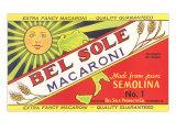 Bel Sole Macaroni, etiket, på engelsk Posters